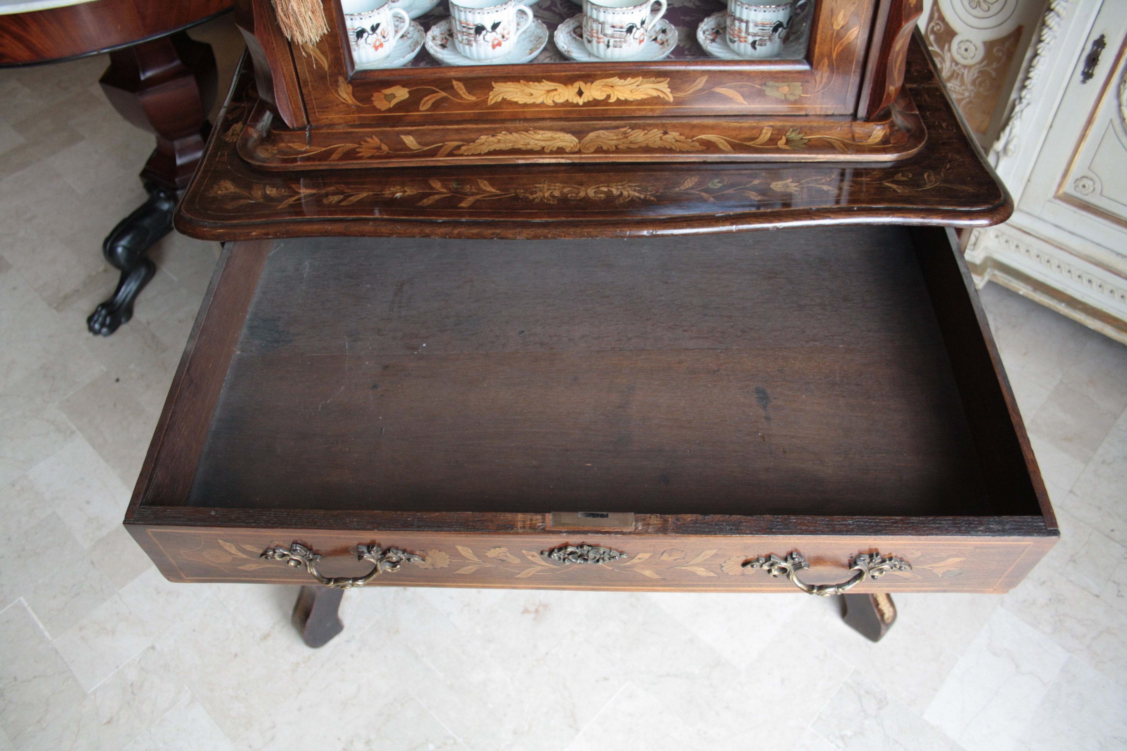 Dutch trumeau Louis XV original inlaid walnut unrestored