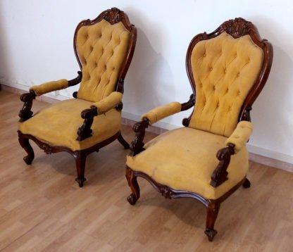 Sillones sofá de nogal del siglo XIX